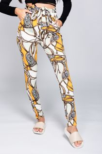 Chain Print Belted Trousers