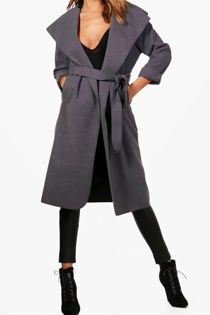 Charcoal Long Waterfall Duster Coat