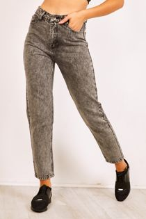 Charcoal Stonewashed Denim Mom Jeans