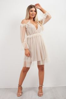 Cold Shoulder Lace Mesh Flounce Dress