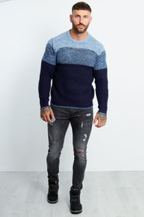 TWIST STRIPE DETAIL CREW NECK JUMPER