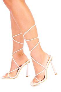 Cream Lace Up Strappy Stiletto Heels