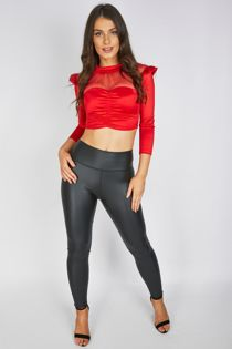 Red Satin Ruched Top