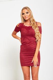 Wine Lace Applique Cold Shoulder Suede Mini Dress
