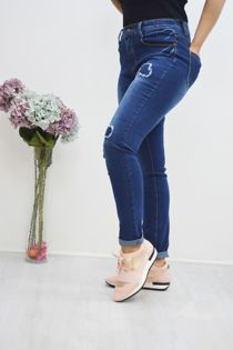 Dark Blue Distressed Jeans