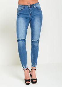 Denim Distressed Hem Skinny Jeans