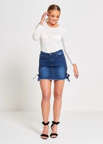 Denim Eyelet Ribbon Petite Hem Mini Skirt
