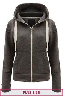 Double Plus Size Charcoal Basic Hooded Jacket