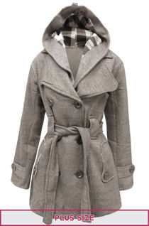 Double Plus Size Grey Double Breast Coat