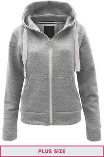Double Plus Size Light Grey Basic Hooded Jacket
