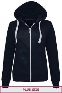 Double Plus Size Navy Basic Hooded Jacket