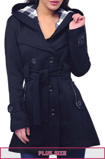 Double Plus Size Navy Double Breast Coat