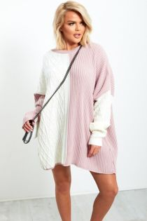 Dusty and White Oversize Jumper Dress