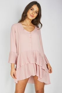 Dusty Pleated Smock Hem Dress
