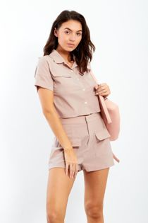 Dusty Pocket Detailed Crop Shirt and Short Co-Ord Set