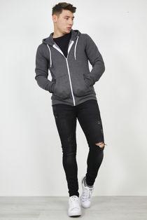 Dark Grey Plain American Fleece Zip Up Hoody Jacket-Copy