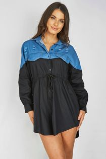 Denim Distressed Contrasted Slouchy Shirt Dress