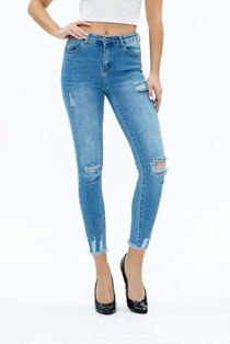 Denim Distressed Wash Skinny Fit Jeans