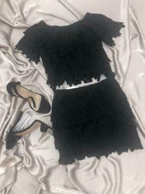Black Off Shoulder Lace Crop Top With Skirt Set