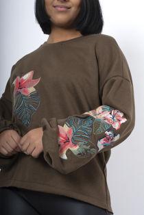 Wine Oversized Embroidered Puff Sleeve Sweatshirt