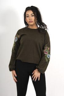 Khaki Oversized Floral Embroidered Sweatshirt