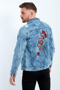 Embroidered Snake Back Distressed Denim Jacket