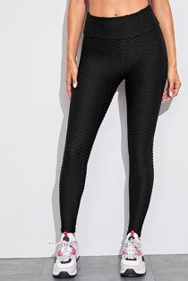 Black Textured Sports Leggings