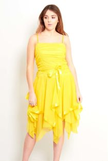 Yellow Evening Prom Midi Dress