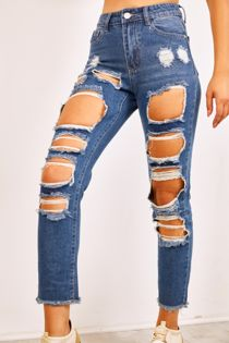 Extreme Ripped High Waist Mom Jeans