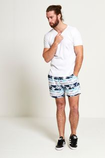 Flamingo Print Hawaiian Swim Shorts