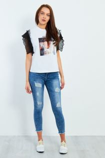 Frayed Hem High Waist Distressed Skinny Jeans