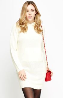 Nude Pink Knitted Hooded Jumper Dress