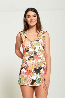 Frill Strap Floral Cut Out Playsuit