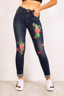 Floral And Butterfly Embroidered Skinny Jeans