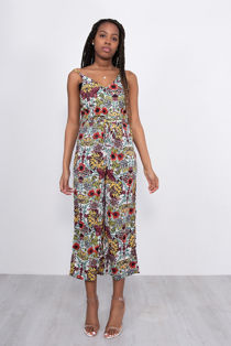 Floral Print Strappy Cami Jumpsuit