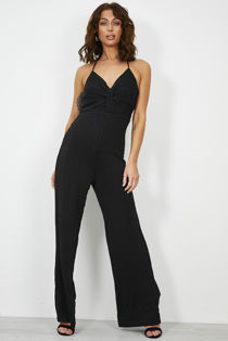Gleamed Twist Halter Jumpsuit