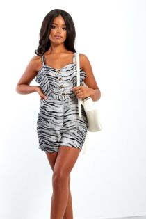 Gold Tiger Print Button Up Playsuit