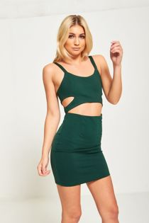 Green Bodycon Cut Out Mini Dress