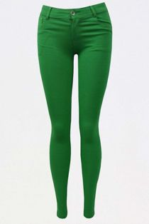 Green Colored Stretch Slim Fit Skinny Jeans