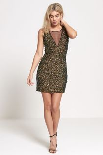 Green Premium Sequinned Mini Dress