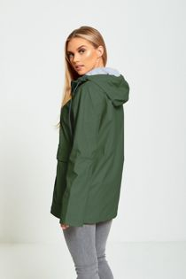 Green Rubber Hooded Raincoat Jacket