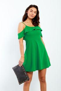 Green Spaghetti Strap Ruffle Frill Dress