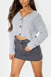 Grey Cable Cropped Button Up Cardigan