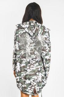 Grey Camo Sequin Angel Wing Hooded Cardigan