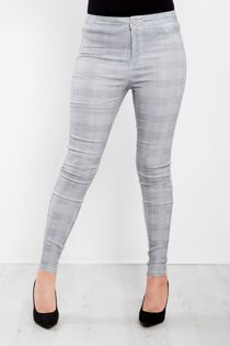 Grey Chequered High Waist Skinny Jeans