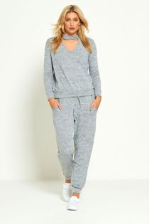 Grey Choker Plain Knit Tracksuit