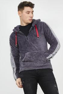 Grey Contrast Pullover Borg Hoodie