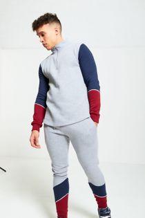 Grey Contrast Zip Neck Skinny Fit Tracksuit