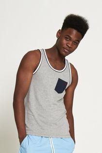Grey Contrasting Colour Hem Vest