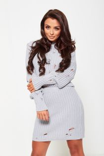 Grey Distressed Knitted Co-Ord